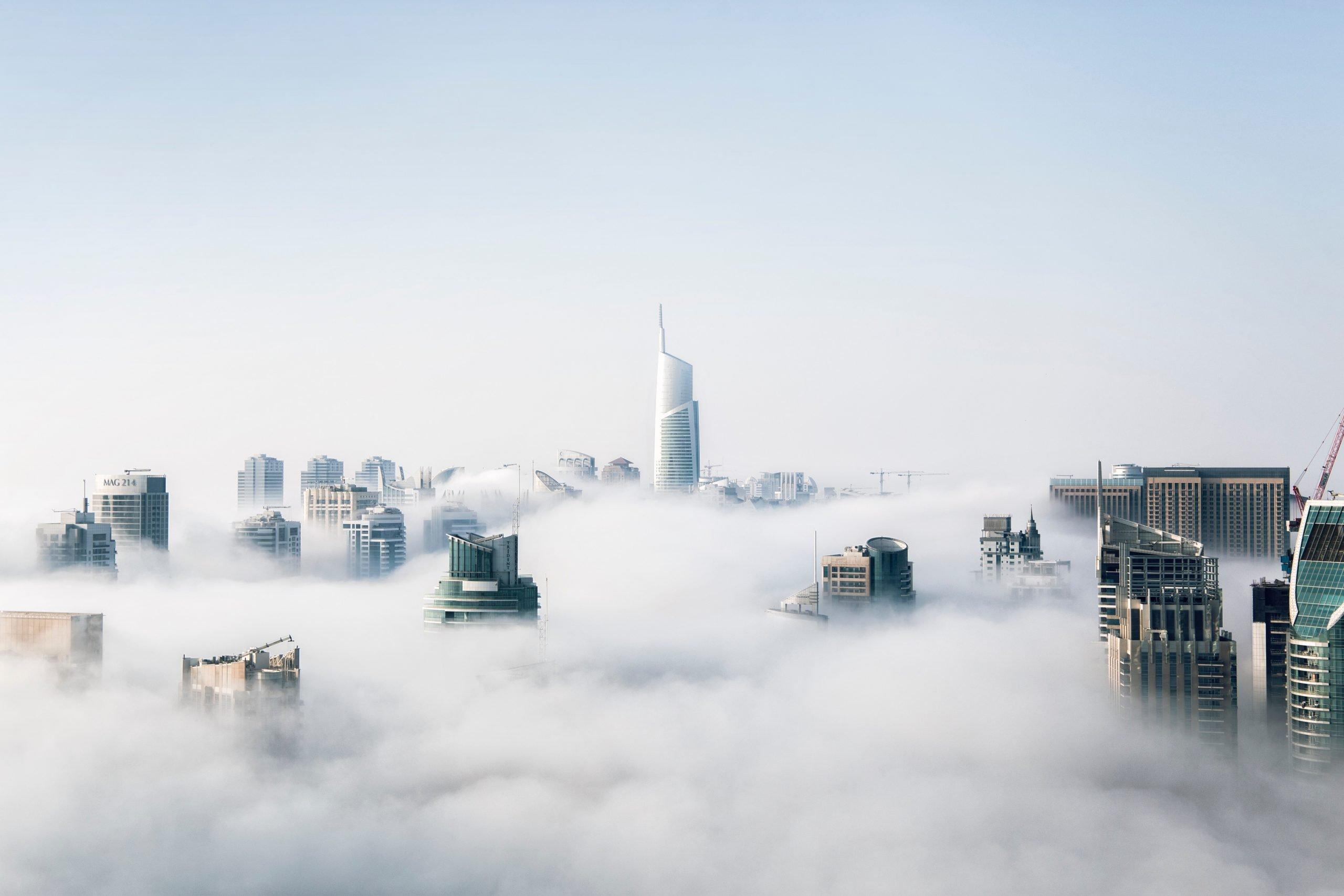 buildings in fog - bookkeeping in the cloud